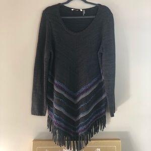 Soft surroundings grey fringe Tunis sweater L
